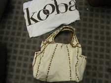 new Kooba white canvas bag purse w leather lacing $702