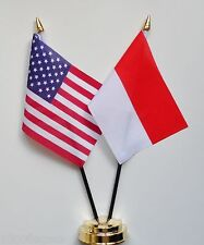 United States of America & Indonesia Double Friendship Table Flag Set