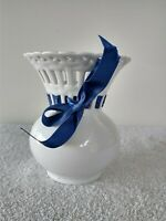 NEW MIKASA Bridal Lace  Porcelain  Vase white with  Blue Ribbon RL018360