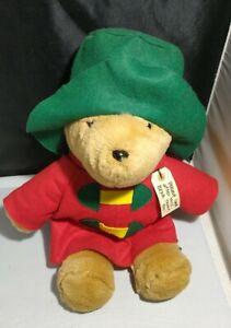 "Vintage Paddington Bear Red Coat Green Hat 18"" Plush Sears Christmas Toy"