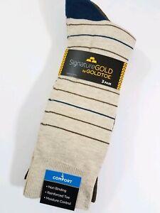 Signature Gold by Gold Toe Men's Crew Socks 3 Pack Large Khaki Brown