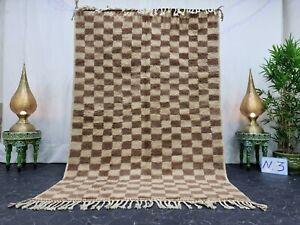 "Handmade Moroccan Beni Ourain Rug 5'3""x7'7""  Checkered Berber White Brown Rug"