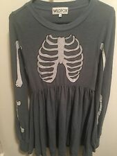 Wildfox Couture☠Skeleton Babydoll Dress☠in Blue Gray ☠Small SOLD OUT☠Inside Out