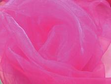 A22 (Per Meter) Light Fuschia Pink Crystal Mirror Organza Sheer Fabric Material