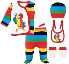 Baby Girl 5pcs Fun Cotton Top, Pant, Cap, Mittens & Bib Gift Set 0-3M Parrot