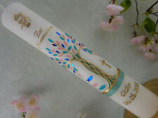 Taufkerze Kommunionkerze Lebensbaum mint blau rosa gold Mädchen Junge 300x50 mm