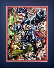 Justice League Print Professionally Matted Dc New 52 Wonder Woman Cyborg Aquaman