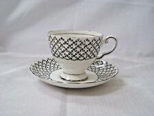 Tuscan Black Flower Lattice Pattern Cup and Saucer