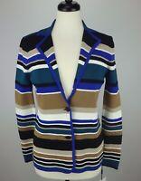 NEW Calvin Klein Women's Knit Striped Cardigan Jacket Blue/Tan Combo Size S $119