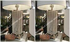 "PAIR CASTORANO 31"" TABLE LAMP NICKEL METAL WHITE LOOKING MARBLE FINISH LIGHT"