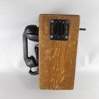 Antique Vintage Hand-Crank ringer Oak Wood WALL TELEPHONE for RESTORATION