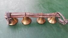 Rare Antique 4 Brass Horse Bell Bells on Leather Strap for Sleigh Shaft