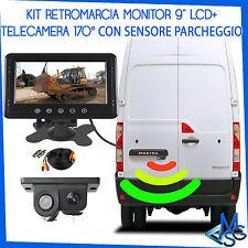 """TELECAMERA HD CON SENSORE DI PARCHEGGIO RETROCAMERA + MONITOR 9"""" KIT RETROMARCIA"""