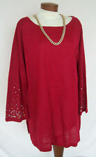 RUBY RED Tunic Top Sweater Sz 1X NEW NWOT Blingy! WASHABLE Career Travel Dressy