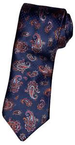 Brioni 100% Silk Handmade Paisley Orange Red Baby Blue Navy Tie Made in Italy