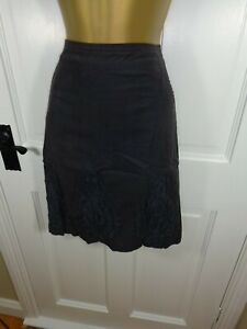 White Stuff Grey 100% Cotton Ruffle Lined Skirt, UK 10 12, Excellent Condition