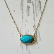 Oval Choker Turquoise Oval Pendant Gold Necklace Designer Inspired Jewelry Blue