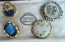 & Stone Lucite Flower, Glass Stone x4 Vintage 60s/70s Scarf Ring Clips, Faux Mop