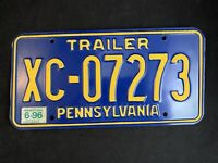 Vintage 1996 Pennsylvania Trailer License Plate