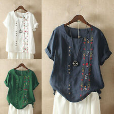 Women Floral Shirt Short Embroidered M-5XL Tops T Cotton Bohemian Sleeve Blouse