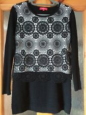 Rene Derhy Jumper Crochet Overlay Black White Long Line Size M Cruise Ribbed