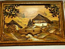 Vintage Art Hand Carved Wood Diorama Painting Wall Hanging Decor Cottage.