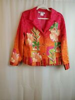 Nancy Bolen City Girl Womens Lined Floral Embroidered Beaded Blazer Size XL