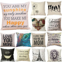 Patterns Cotton Linen Pillow Case Car Sofa Bed Waist Throw Cushion Cover Home