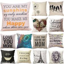 Patterns Cotton Linen Pillow Case Car Sofa Bed Waist Throw Cushion Cover Home
