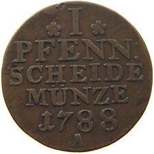 GERMAN STATES 1 PFENNIG 1788 A PREUSSEN #a22 587