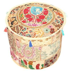 """Indian Round Pouf Cover Patchwork Embroidered Foot Pouffe Cover Cotton 18"""" Beige"""