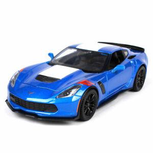 1:24 Chevrolet Corvette 2017 Grand Sports Model Car Diecast Collection Gift Blue
