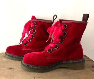 Dr Martens cherry red velvet boots 38EU
