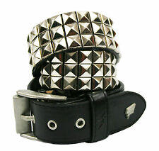 Lowlife Triple S Studded Leather Belt in Black and Silver
