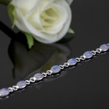 Ladies Sterling Silver 925 Moonstone Bracelet Bangle Gemstone Jewellery Gift Box