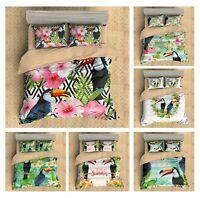 Gift Tropical Plant Flower Toucan Bird Bedding Duvet Quilt Cover Set Pillow Case