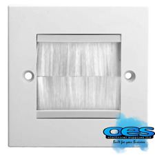 Single 1 Gang White Brush Wall Outlet Cable Entry Plate Tidy Mount Wallplate AV
