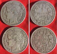 5 FRANCS ARGENT CERES 1850BB 1849A 1850 bb et 1849 A / monnaie pièce or argent