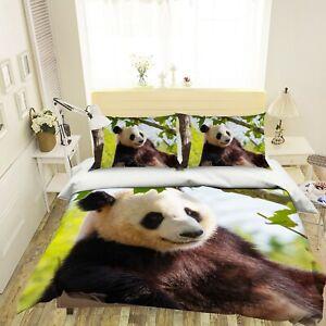 3D Cute Panda O726 Animal Bed Pillowcases Quilt Duvet Cover Set Queen King Fay