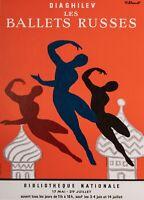 Original Vintage Poster - Bernard Villemot - Diaghilev Les Ballets Russes - 1979