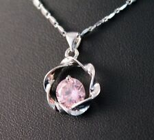 Silver Circle Pink Cubic Zirconia Pendant Necklace w/Free Jewelry Box and Ship