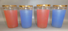 BLENDO GLASSWARE PINK BLUE 10 OZ TUMBLERS (4) W/ GOLD TRIM WEST VIRGINIA VTG