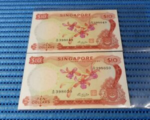 2X Singapore Orchid Series $10 Note B/46 398049-398050 Dollar Banknote Currency