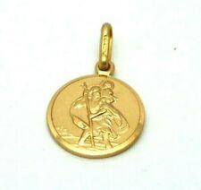 Genuine Hallmarked 9ct Yellow Gold 12mm Saint Christopher Pendant  32144
