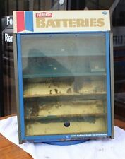 VINTAGE STEEL EVEREADY BATTERY COUNTER DISPLAY WITH TESTER AND COVER