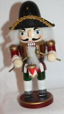 """Nutcracker Drummer Wood Statue Holiday Decoration Small 7"""" Christmas Red Green"""