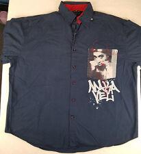 Mens Makaveli Brand Long Sleeve Button Front Shirt TUPAC Navy Blue Size XXL 2XL