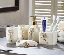 Resin New Bathroom Accessories Sets Soap Holder Toothbrush Cup �White 5Pcs