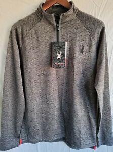 SPYDER Mens 1/4 Zip Soft-Shell, Mid-Layer, Fleece Ski-Top, Grey, Size-L, BNWT