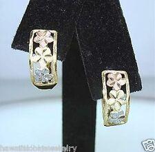 6mm Hawaiian 14k Tri-Color Gold DiamondCut DC Matted Plumeria Huggie Earrings #3